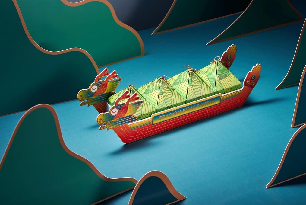 龙舟外形的端午礼盒包装_创新国潮风_高瑞品牌_北京包装设计